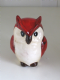 Small Red and Cream Ceramic Owl